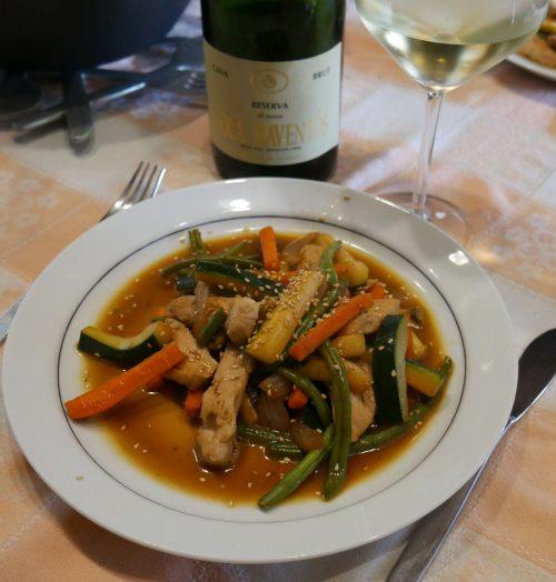 Wok de pavo con verduras al Cava